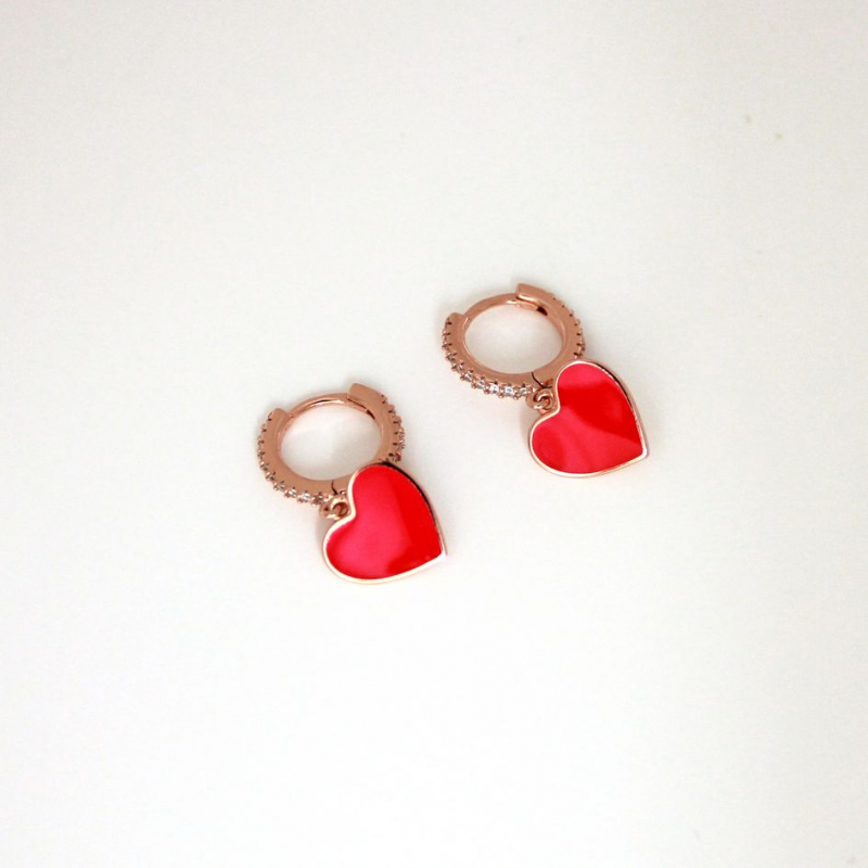 925 Silver Earring heart with enamel and cz fuchsi