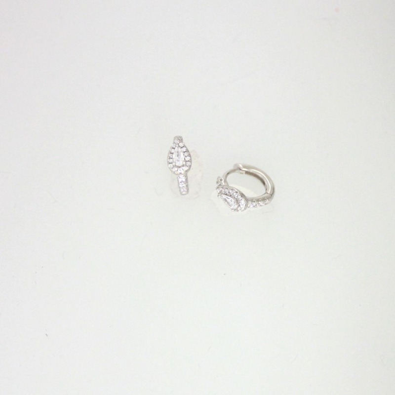 925 Silver Earring hoop White cz 12.8x11mm Rhodium