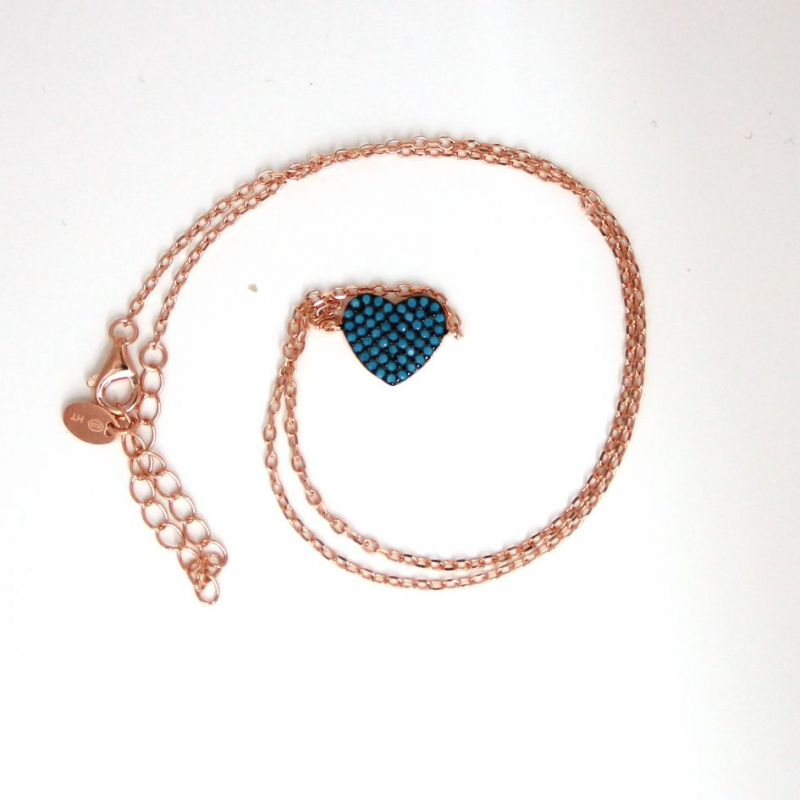 925 Silver necklace heart with cz Nano Turquoise 3