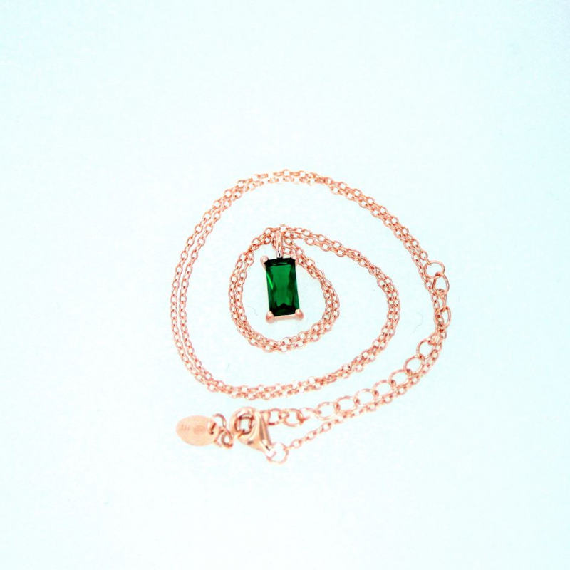 925 Silver necklace Baguette 8x4mm emerald 38+5cm