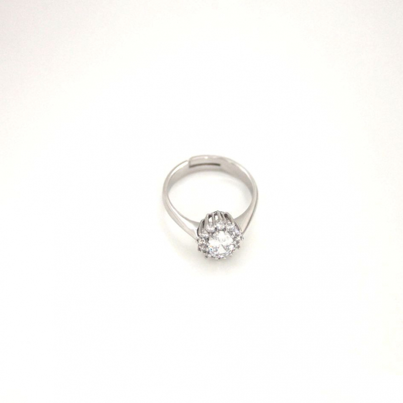 925 Silver Ring oval White cz 5x7mm Rhodium